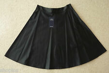 Ladies M&S Collection Size 12 Black Leather Look Skater Skirt Bnwt