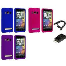 Color Hard Snap-On Rubberized Skin Case for HTC Sprint EVO 4G Phone Charger