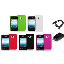 Silicone Rubber Color Gel Skin Case for LG Optimus Elite LS696 Phone Charger