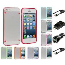 Clear Robot Crystal Transparent Hard Snap-On Case for iPhone 5 5G 2X Chargers