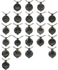 Black 30mm Pad Sunflower Butterfly Locket Necklace Essential Oil Aromatherapy