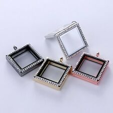 Living Memory Floating Charm Glass Square Locket Chain Crystal Necklace Pendant
