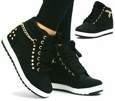 Womens Ladies Wedge Trainers Mid Heel Platform Sneakers High Top Hi Ankle Boots
