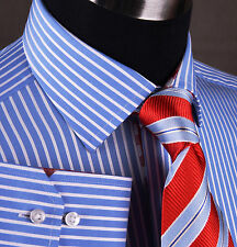 Classic Blue Striped Dress Shirt Formal Business Red Checkered Stylish Fashion