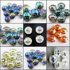 6 colors 14mm Faceted Sunflower Pattern Round Glass Crystal Loose Spacer Beads