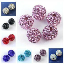 5x Fashion Womens Resin Rhinestones Pave Disco Ball Spacer Loose Beads DIY 10mm