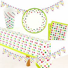 Party Supplies Polka Dots Tablecover Plate Cups Napkins Bunting Tablecloth Green