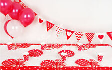 BIRTHDAY PARTY SUPPLIES HEART DOTS PLATES TABLEWARE SET BUNTING TABLECLOTH RED