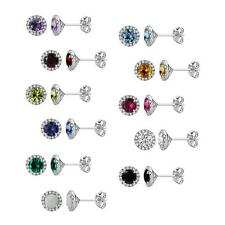 Sterling Silver 925 Round Gemstone (Your Choice) Halo Stud Earrings