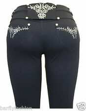 New Ladies Womens Black Embroidery Stretchy Skinny Fit Jeggings Jean Legging