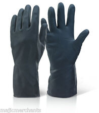 Heavy Duty Black Natural Rubber Latex Gloves Household Industrial Flock Washing