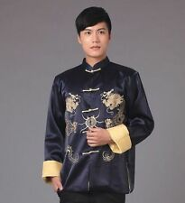 Chinese Men's silk Dragon Kung Fu Party Jacket/Coat Navy blue Sz: M L XL 2XL 3XL