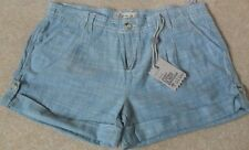 EX FAT FACE BLUE COTTON TWILL VINTAGE WASH TURN UP PLEAT FRONT SHORTS  12 14 16