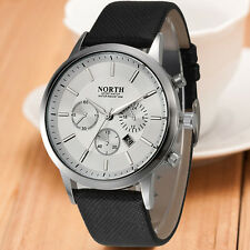 NORTH Luxury Mens Date Genuine Leather Strap Analog Quartz Sports Wrist Watch