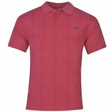 Dunlop Check Golf Polo Shirt Mens Pink Collared T-Shirt Top