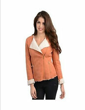 Must Have Women's Collarless Faux Suede and Shearling Jacket, Peach Coat