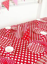 BIRTHDAY PARTY SUPPLIES POLKA DOTS PLATES,CUPS,NAPKINS, BUNTING TABLECLOTH RED