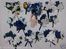 2pcs Corsage Boutonniere Set Navy Blue Rose Many Styles Choose Pin On Or Wrist