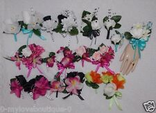 2PCS Corsage Boutonniere Set Polka Dot ribbon Many colors Pick Wrist or Pin On