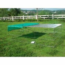 BUNNY BUSINESS Rabbit/Guinea Enclosure with Roof Galvanised and Sunshade 144