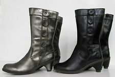 Ladies Dr. Marten Leather Mid Boots in Silver or Black - Style name: Toki