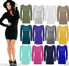 LADIES WOMEN PLAIN LONG SLEEVE STRETCH BODYCON FITTED SEXY PARTY MINI DRESS TOP