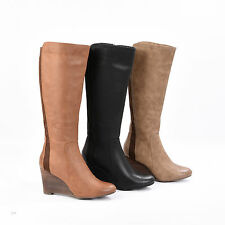 Ladies Ex High Street Long Boots Black Tan Taupe  Size 3 4 5 6 7 8 RRP £ 75.00