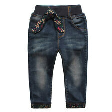 New Kids Girls Toddlers 100% Cotton Trousers Floral Bow Denim Pants Jeans P1115