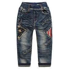 Kid Boys Toddlers 100% Cotton Trousers Star Fringe Print Denim Pants Jeans P1151