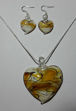 Yellow Swirl Design Murano Glass Heart Earrings & Necklace Set #Valentine