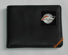 New Genuine Leather Wallet DENVER BRONCOS STRIPE PEWTER LOGO Bi-fold or Tri-Fold