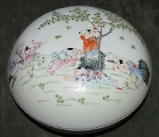 Chinese Antique Republic Porcelain Large Box Painted Boys Jurentang Mark 10in+