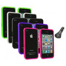 TPU Bumper Rubber Transparent Jelly Case Cover+Car Charger for iPhone 4 4S 4G