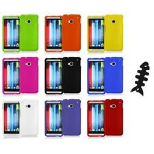 Color Hard Snap-On Rubberized Cover Case Accessory+Cable Wrap for HTC One M7