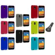 TPU Plain Case Cover+Car Charger for Samsung Sprint Galaxy S2 S II Epic Touch 4G