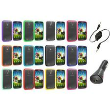 Hybrid TPU Hard Clear Case Cover+Aux+Charger for Samsung Galaxy S4 SIV i9500