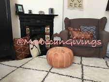 100% Leather Handcrafted Moroccan Pouffe  Natural/Sand