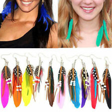 Chic Womens Jewellery Handmade Earrings Goose Feather Dangle Eardrop Hook
