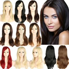 Sexy Long Straight Full Wig Daily Party Dress Synthetic Black Blonde Brown Red C