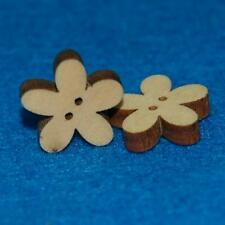 10 Sewing Flower Buttons Craft 15mm Floral Natural Wood Cute Scrapbooking Lots