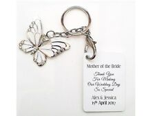 Personalised Mother of the Bride Mother of the Groom Butterfly Keyring