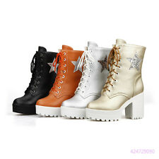Sexy Womens Girls Mid Calf Lace Up Preppy Boots High Heels Shoes AU Size Y1512