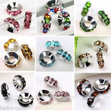 Big Hole Multicolor Crystal Rhinestone Pave Rondelle Spacer Loose Beads
