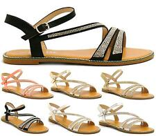 LADIES SLINGBACK BUCKLE STRAPPY DIAMANTE OPEN TOE BEACH WOMENS SANDALS SHOES 3-8