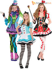 Girl Mad Hatter Costume Queen of Hearts Fancy Dress Child Alice Fairytale Outfit