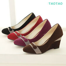 Sweet Women's Wedge Causal High Heels Pumps Kitten Heels Shoes AU All Size TD019