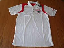 NWT MENS NCAA WISCONSIN BADGERS WHITE POLO COACHING GOLF SHIRT RED M L 2XL