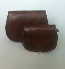 Moroccan Handcrafted Chocolate  Brown leather Saddle Bag