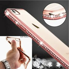 New Luxury Soft Chrome Diamond Clear Transparent Case Cover For iPhone 6 6s Plus