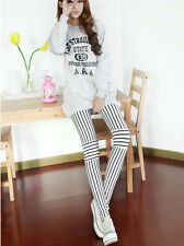 The new vertical stripes stitching leggings fashion fluorescent colors